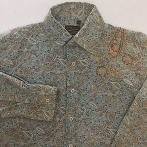 7 Diamonds Paisley Men's Large Dress Shirt  F57